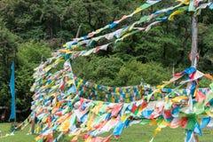 YUBENG, CHINE - 9 août 2014 : Drapeau de prière au village de Yubeng un fam Photo libre de droits