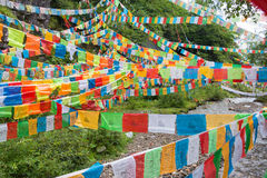 YUBENG, CINA - 10 agosto 2014: Bandiera di preghiera al villaggio di Yubeng un fa fotografia stock libera da diritti