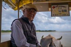 Yubu海岛,日本- 11月24 :水牛支架未认出的司机运输从西表岛的游人到Yubu  库存照片