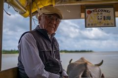 Yubueiland, Japan - November 24: De niet geïdentificeerde bestuurder van buffelsvervoer vervoerden toeristen van Iriomote aan Yub Stock Foto's