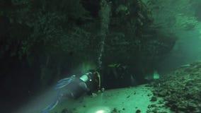 Yucatan Μεξικό cenotes υποβρύχιο Σκάφανδρο που βουτά στο καθαρό και σαφές υπόγειο νερό απόθεμα βίντεο