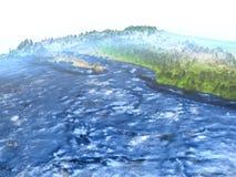 Yucatan on Earth - visible ocean floor Royalty Free Stock Photography