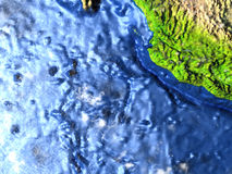 Yucatan on Earth - visible ocean floor Stock Photo