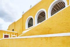 YUCATAN, MEXICO - MAY 31, 2015: Facade of the church, the yellow city of Izamal stock photos