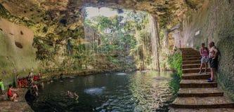 Ik-Kil cenote near Chichen Itza, Mexico. Yucatan, Mexico - October 25, 2016: Ik-Kil cenote near Chichen Itza, Mexico Royalty Free Stock Photos