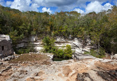 Yucatan Mexico. Sakral cenote på Chichen Itza Royaltyfri Foto