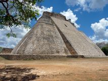 Mexico, Yucatan, Uxmal, May, 25 2013, visit to the pyramid of the guilty, Pyramid of Adivino stock photography