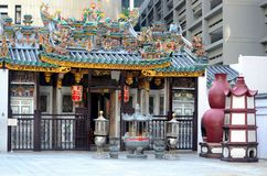 Yueh Hai Ching Teochew Chinese Taoist temple Phillip Street Singapore. Singapore - May 26, 2016: A view of the Yueh Hai Ching temple in the Raffles Place area of Royalty Free Stock Photography
