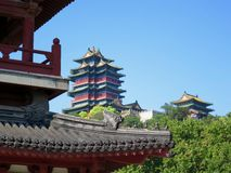 Yuejiang Tower from the Bottom of Hill. A view of the Yuejiang Tower in Nanjing. The eaves of the Mazu temple can be seen in front stock image