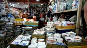 Yuet Tung China Works. Is an old fashioned traditional cantonese hand painted porcelainware manufacturer and importer in Hong Kong China, established in 1928 royalty free stock photo
