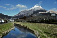 Yufuin, city of Snow Mountain. Royalty Free Stock Photography