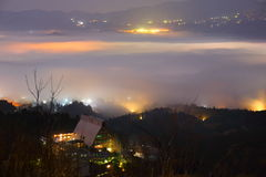 Yufuin of dawn on the morning mist Royalty Free Stock Photo