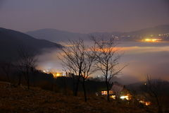 Yufuin of dawn on the morning mist Royalty Free Stock Photography