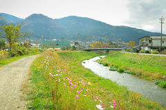 Yufuin Town Oita, Kyushu, Japan. Yufuin is a popular Onsen resort in Kyushu, Japan. Yufuin town in Oita surrounded with beautiful nature besides Yufu Mountain Royalty Free Stock Images