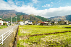 Yufuin Town Oita, Kyushu, Japan. Yufuin is a popular Onsen resort in Kyushu, Japan. Yufuin town in Oita surrounded with beautiful nature besides Yufu Mountain Stock Photos