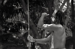 Yugambeh Aboriginal warrior man hunting Royalty Free Stock Photography