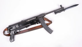 Yugoslav M56 SMG and bayonet. Yugoslavian M56 SMG chambered for the 7.62 x 25mm Tokarev round. The M56 was one of the shortest weapons to be fitted with a royalty free stock photos
