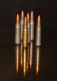 Yugoslavia M67 projectile. Six bullets . Yugoslavian Mig 67 caliber 7.62 have a great wounding profile, speed, and accuracy Stock Photos