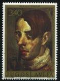 Yugoslavian artist Mihailo Vukotic. RUSSIA KALININGRAD, 12 NOVEMBER 2016: stamp printed by Yugoslavia, shows the self-portrait of Yugoslavian artist Mihailo Royalty Free Stock Photography