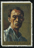Yugoslavian artist Nikola Martinovski. RUSSIA KALININGRAD, 12 NOVEMBER 2016: stamp printed by Yugoslavia, shows the self-portrait of Yugoslavian artist Nikola Stock Photos