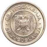 1 yugoslavian dinar coin. Isolated on white background Royalty Free Stock Photos