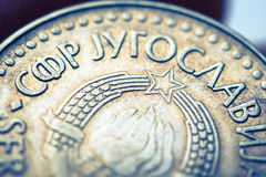 Yugoslavian dinar. In the hand Royalty Free Stock Images