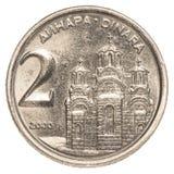2 yugoslavian dinarmuntstuk Stock Foto's