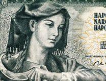Yugoslavian farm woman with sickle. Farm woman with sickle on 5 Dinara 1968 banknote from Yugoslavia Royalty Free Stock Photos
