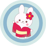 Yukata Bunny. Smiling bunny wearing yukata, standing frontal to user and waving hand Stock Photography