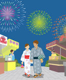 Yukata couple in the Japanese firework display. 