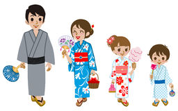 Yukata family Isolated,Front view Stock Images