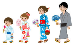 Yukata family Isolated. Vector illustration of Yukata family Isolated Royalty Free Stock Image