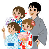 Yukata family Isolated,Waist Up Royalty Free Stock Photo