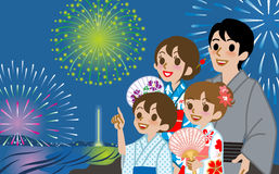 Yukata Family looking up Fireworks Royalty Free Stock Image