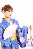 Yukata giapponese con il fan di carta Fotografie Stock Libere da Diritti