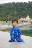 Yukata Girl. Girl wearing Japanese yukata in summer Royalty Free Stock Photos