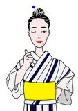 Yukata girl thumbing up. Smiling yukata girl  thumbing up Stock Photography