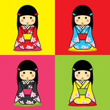 Yukata. Japanese girl wearing a yukata. And sit on soft cushions quadrate, Japanese style Stock Image