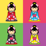 Yukata. Japanese girl wearing a yukata. And sit on soft cushions quadrate, Japanese style Royalty Free Stock Photo