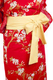 Yukata. Yellow ribbon on Japanese traditional clothes of Kimono, Yukata Royalty Free Stock Photography