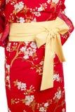 Yukata. Yellow ribbon on Japanese traditional clothes of Kimono, Yukata royalty free stock photography
