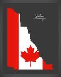 Yukon Canada map with Canadian national flag illustration Stock Photos