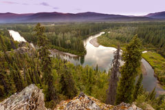 Yukon Canada taiga wilderness and McQuesten River Stock Photography