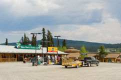 The yukon motel and gas station at teslin royalty free stock photos