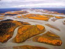 Yukon river Alaska. Fall colors on the Yukon River in Alaska royalty free stock photo