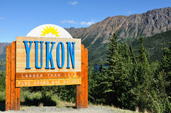 Yukon Territory, Canada Welcome Sign Stock Photos