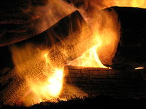 yule журнала пожара Стоковые Фотографии RF