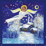 Yule Angel. Angel illustration in an acryle painting Stock Photography
