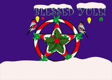Yule greeting card. Sacred Wiccan holiday Yule greeting card Royalty Free Stock Photography