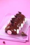 Yule Log Cake glasierte mit Schokoladenspiegelglasur Lizenzfreies Stockbild